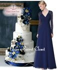 MARCIA Navy Blue Lace Full Length Prom Evening Cruise Ballgown Dress UK 8 - 20