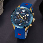 Fashion Curren Mens Boys Gold Blue Sport Military Army Analog Rubber Wrist Watch