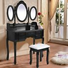 Wooden 7-Drawer Vanity Set in White/Black W/ Stool and Tri Folding Oval Mirror