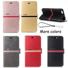 2017 Retro Flip Leather Cover Stand Wallet Card Slots Case Cover With Lanyard