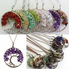 Natural Amethyst Lapis Peridot Chip Beads Tree of Life Pendant Chain Necklace