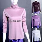 Women's 100% Pure Silk T-Shirt Turtleneck Long Sleeve Tops Thermal Underwear