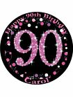 90th Birthday female Edible Icing Cake Topper Circle 3sizes
