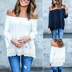 Womens Off The Shoulder Lace Blouse Strapless T-Shirt Casual Loose Tee Tops AS