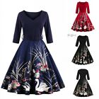 Women Vintage Retro Swing 50s Rockabilly Pinup Evening Cocktail Dress Plus Size