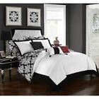 Twin Queen King Bed Bag Black White Red Damask 10 pc Comf...