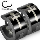 Pair of Stainless Steel Black Cross Hoop Huggie Cuff Earrings Men or Women