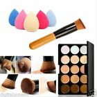 Makeup Contour Face Cream Concealer Palette+Sponge Puff+Powder Brush 15 Colors D