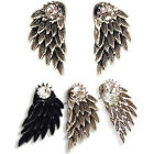 Silver Black New Inlaid Women's Party Rhinestone Earrings Alloy Wings
