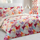 Butterfly Multi Printed Bedding Childrens Kids Girls Duvet Quilt Cover Bed Set