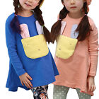 Pullover Cartoon Rabbit Panel Front Tunic Shirt for Girls