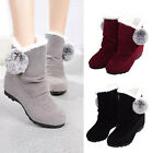Fashion Women Winter Warm Ankle Boots Flats Casual Hairy Suede Comfort Shoes