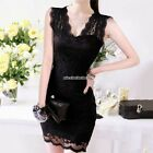 Sexy Women Lace Short Sleeve Slim Fashion Evening Dress Elegant Bodycon Formal