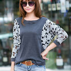 Women's Fashion Batwing Sleeve Lace Sheer Tops Casual Tee Loose T-shirt  Blouse