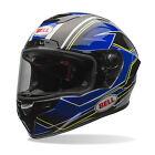 2017 Bell Race Star ECE Carbon Helmet - Triton Blue/Yellow Track Motorcycle