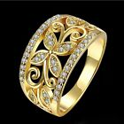 New Size 7 Filled Size 8 Gold Plated White Zircon Yellow Golden Wedding Ring