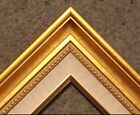 Gold Contemporary Wood Picture Custom Frame w Linen Fabric Liner Ornate 1813GL