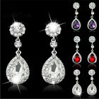 Women Charm Rhinestone Bridal Water Drop Earring Wedding Crystal Stud Earings JR