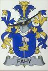Your COAT OF ARMS Crest on stylish Wooden CLOCK - FINNAN to FLANNERY