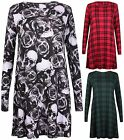 Womens Plus Size Skull Tartan Check Print Ladies Stretch Swing Flared Dress Top