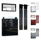 Wardrobe Set Hallway Furniture Loret Mini Black - High Gloss & Natural Tones