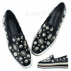 AnnaKastle New Womens Unique Metal Stud Slip-On Loafer Creeper US 5 6 7 8
