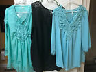 DRESSY TOPS ASSORTED SIZES XL, 3XL,5XL & 6XL TEAL BLACK TAN WHITE, BLUE YELLOW