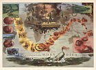 MAP The Voyage of the Pequod from the Book Moby Dick Pictorial Folkloric Reprint