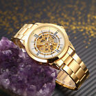Transparent Mens Golden Roman Numberal Skeleton Automatic Mechanical Wrist Watch