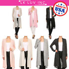 Women Lightweight Long Sleeve Open Front Draped Solid Casual Cardigan Plus -USA-