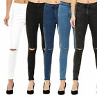 Kyпить WOMENS HIGH WAISTED RIPPED KNEE SKINNY JEGGINGS LADIES JEANS 6-8-10-12-14-16-18 на еВаy.соm