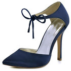 HC1610 Navy High Heel Wedding Dress Shoes Pointed Toe Straps D'orsay Satin Pumps