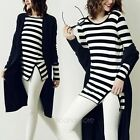 New Fashion Women Long Sleeve Black+ White Stripe Casual T-shirt Tops Blouse 1X