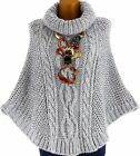 Poncho pull cape laine mohair grosse maille hiver gris perle  ELODY GRIS