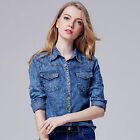 Fashion womens Lapel single Europe and America long-sleeved denim shirt coat