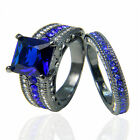Size7 18K Black Gold Filled Jewelry Blue AAA Zircon Women Party Rings For Gift