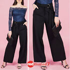 Womens Work Black Wide Leg Stretch Dress Pants High Waisted Business Trousers Sz