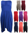 Womens New Strapless Ladies Gathered Long Top Boob Tube Drape Dress Plus Size