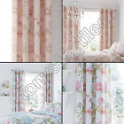 """CHRYSANTHEMUM FLORAL PINK & BLUE EYELET RING TOP FULLY LINED CURTAINS 66"""" x 72"""""""