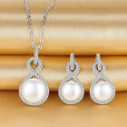 Lucky Infinity Fresh Water Pearl Necklace Earrings Set 925 Sterling Silver Gift