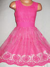 GIRLS CERISE PINK LACE SPECIAL OCCASION PRINCESS BRIDESMAID PROM PARTY DRESS