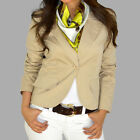 Roxy Single Breast Cotton Beige Fitted Suit Jacket Blazer Top S M L Brand NEW
