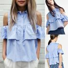 New Fashion Women Casual Off Shoulder Turn Down Collar Ruffles Top Blouse N98B