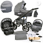 Modern Baby Pram Pushchair Stroller Buggy CAR SEAT SWIVEL WHEELS 12 Colors <br/> Bassinet,Seat Unit,Rain Cover.Mosquito Net,Diaper Bag