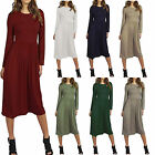 Kyпить Ladies Womens Franki Long Sleeves Swing Flared Midi Skater Dress Top Plus Size на еВаy.соm