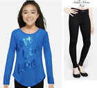 NWT JUSTICE Girls 7 12 Blue Shine Long Sleeve Knit Top & Black Jeggings Outfit