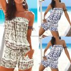 Sexy Women Summer Slash Neck Off Shoulder Print Short Jumpsuit Playsuit N98B