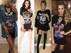 Women's Vintage Rock Style Long T-Shirt Mini Dress Casual Party Summer Shirt Top