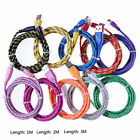 1M 2M 3M Braided Fabric Micro USB Data&Sync Charger Cable Cord For Cell Phone