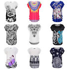 Women Casual Loose Oversize Batwing Sleeve Printing T-shirt blouse tops EH7E
